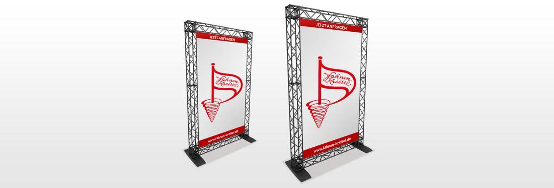 Rahmensysteme und Werbesysteme von Fahnen-Kreisel